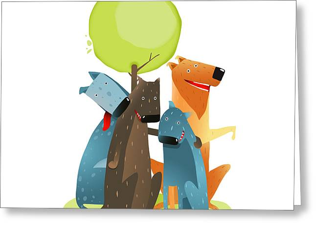 Group Of Cartoon Dogs Sitting Under Greeting Card