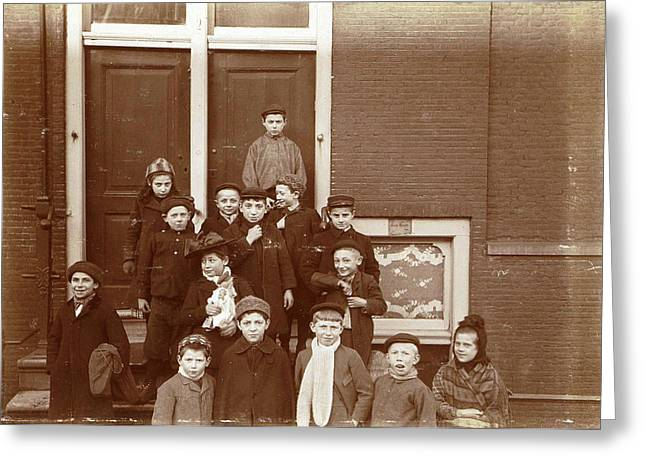 Group Of Children Posing On Stairs For Entrance Doors Greeting Card