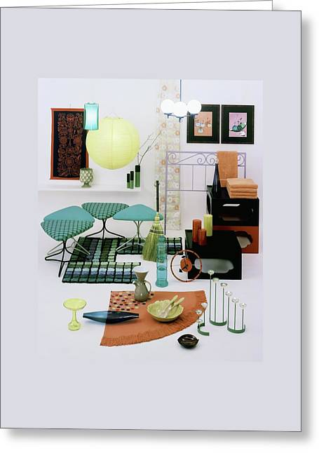 Group Of Furniture And Decorations In 1960 Colors Greeting Card by Tom Yee