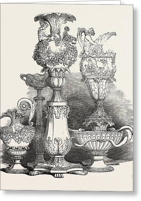 Group Of Maltese Vases Greeting Card by English School