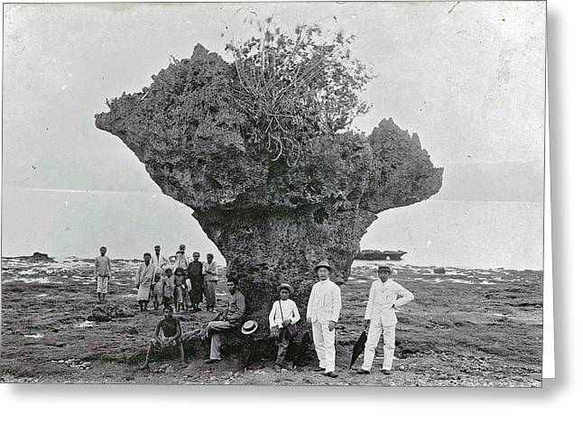 Group Of People At Rock Formation Stone Hat Batu Tjepeh Greeting Card