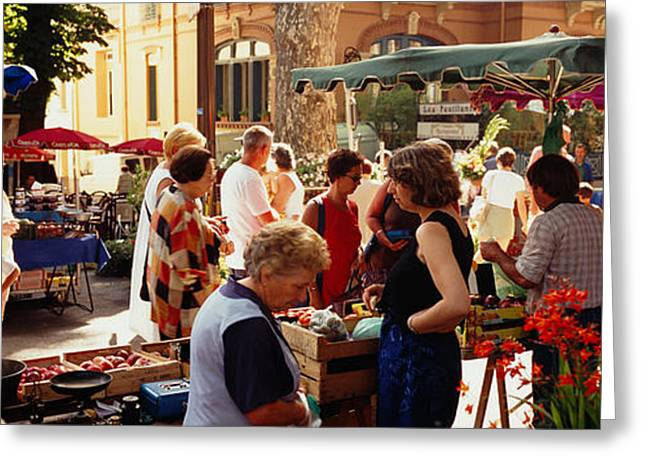Group Of People In A Street Market Greeting Card by Panoramic Images
