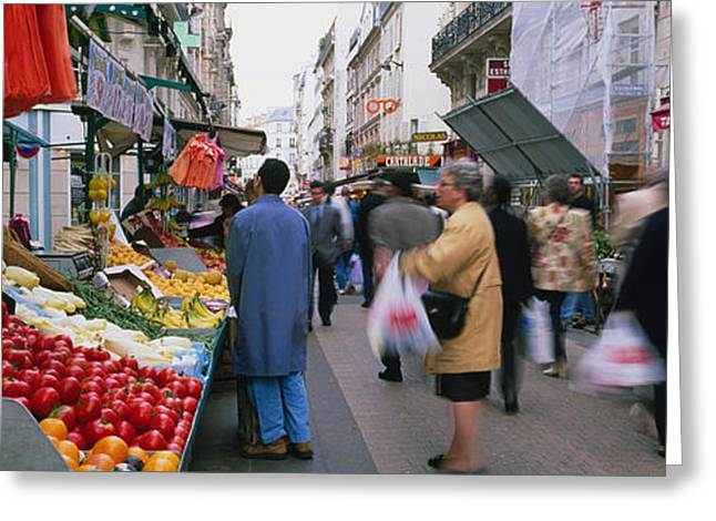 Group Of People In A Street Market, Rue Greeting Card by Panoramic Images