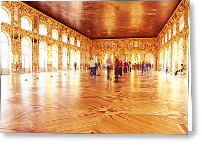 Group Of People Inside A Ballroom Greeting Card by Panoramic Images
