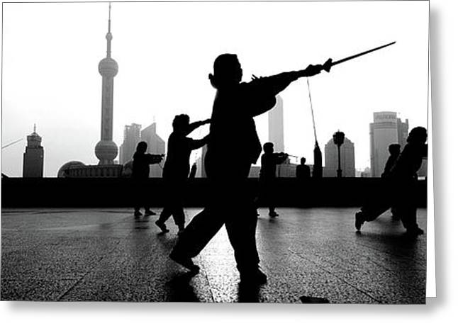 Group Of People Practicing Tai Chi Greeting Card by Panoramic Images
