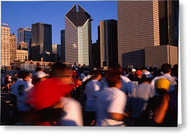 Group Of People Running A Marathon Greeting Card by Panoramic Images