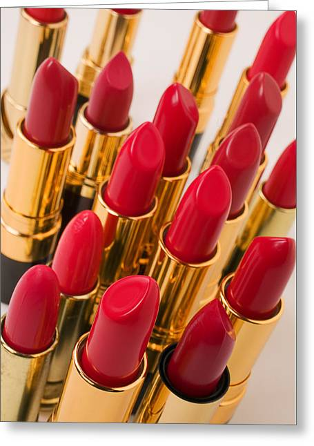 Group Of Red Lipsticks Greeting Card
