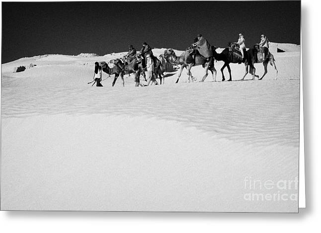 group of tourists in desert dress on camel back being taken through the sand dunes and ruins sahara desert at Douz Tunisia Greeting Card by Joe Fox