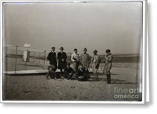 The Wright Brothers Group Portrait In Front Of Glider At Kill Devil Hill Greeting Card by R Muirhead Art
