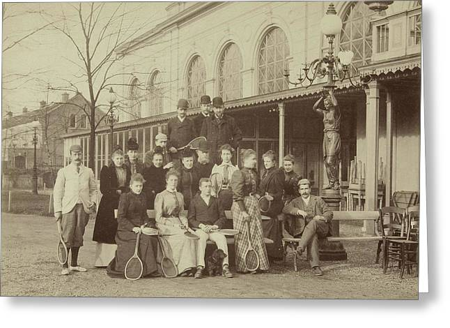 Group Portrait Of Men And Women With Tennis Rackets Greeting Card