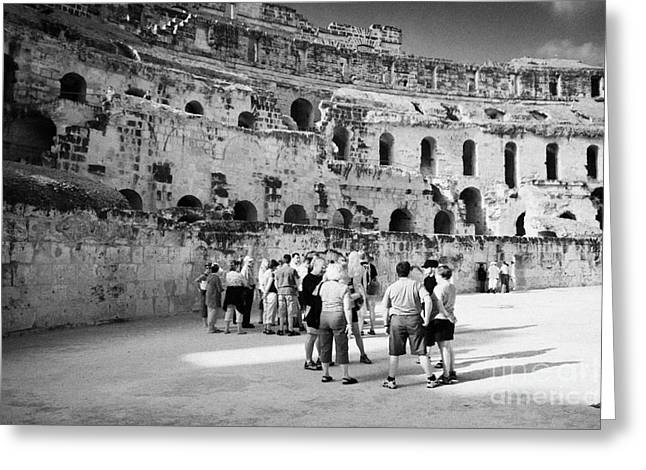 Groups Of Tourists And Guides In The Main Arena Of The Old Roman Colloseum At El Jem Tunisia Greeting Card