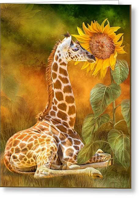 Greeting Card featuring the mixed media Growing Tall - Giraffe by Carol Cavalaris