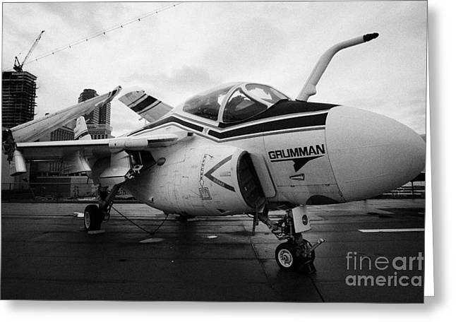 Grumman A6f A6 Intruder On Display On The Flight Deck At The Intrepid Sea Air Space Museum Greeting Card by Joe Fox