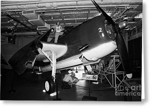 Grumman Eastern Aircraft Tbm 3e Tbm3e Avenger On The Hangar Deck At The Intrepid Air Space Museum Greeting Card by Joe Fox