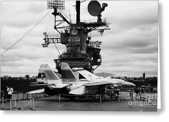 Grumman F14 In Front Of The Bridge On The Flight Deck Of The Uss Intrepid  Greeting Card by Joe Fox