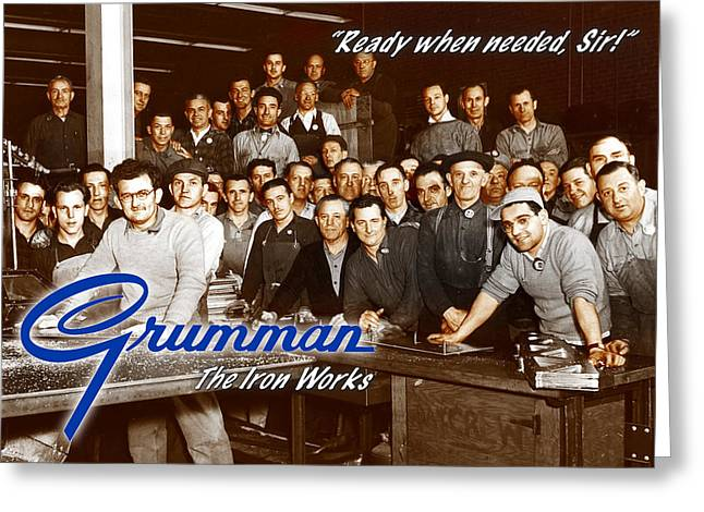 Grumman Iron Works Shop Workers Greeting Card
