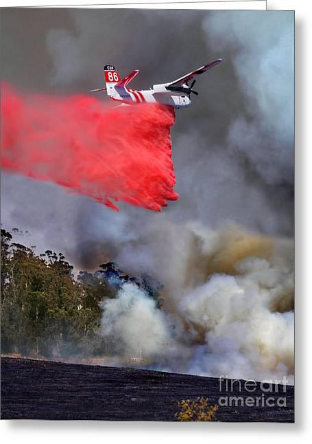 Grumman S-2f3at Fire Retardant Drop Greeting Card by Wernher Krutein