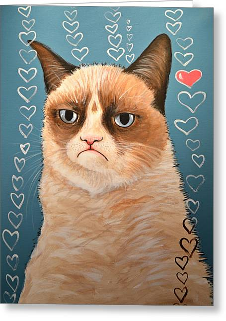 Grumpy Cat Art ... Love You Greeting Card by Amy Giacomelli
