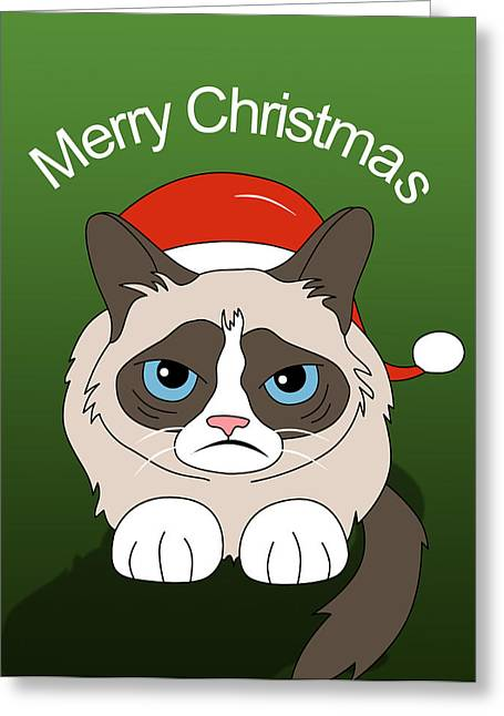 Grumpy Cat Greeting Card by Mark Ashkenazi