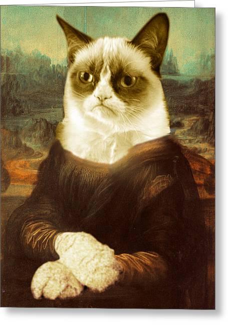Grumpy Cat Mona Lisa Greeting Card