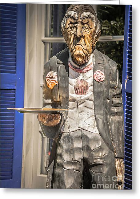Grumpy Old Waiter Carving Key West - Hdr Style Greeting Card