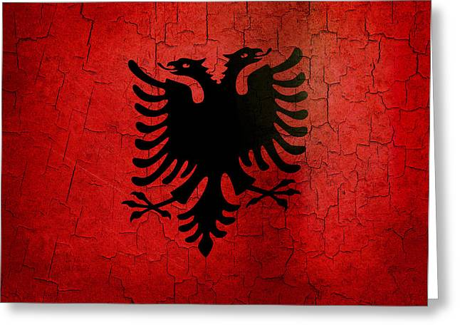 Grunge Albania Flag Greeting Card