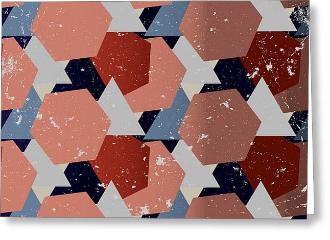 Grunge Geometric Background. Vector Greeting Card