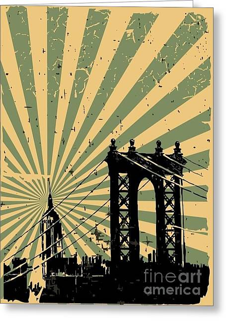 Grunge Image Of New York, Poster, Vector Greeting Card