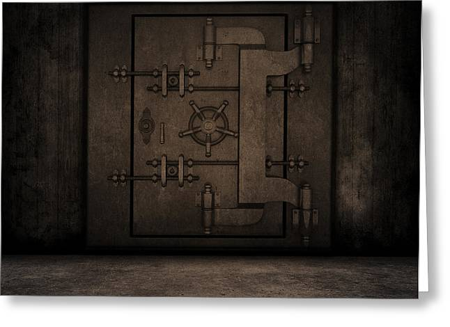Grunge Interior With Bank Vault Greeting Card by Kirsty Pargeter