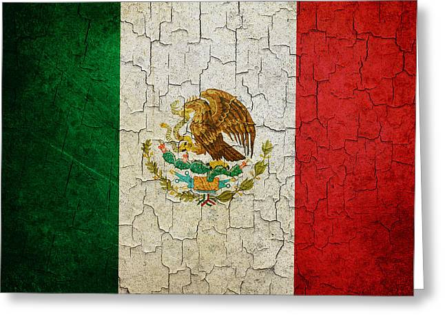 Grunge Mexico Flag Greeting Card