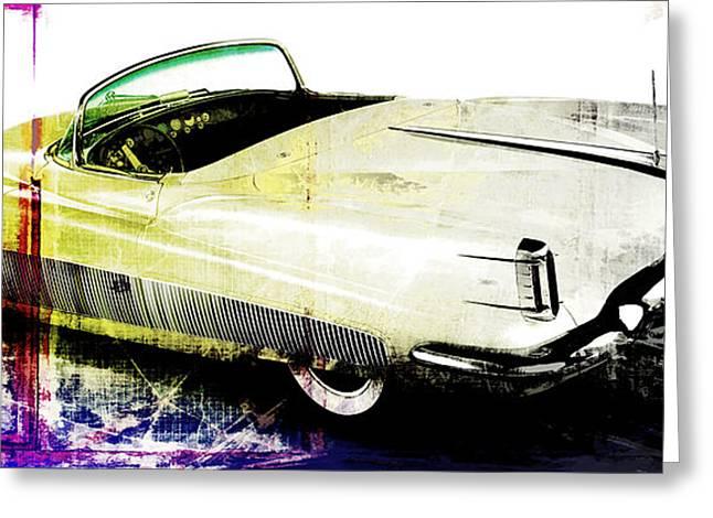 Grunge Retro Car Greeting Card by David Ridley