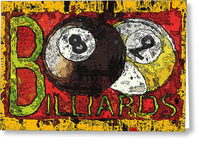 Grunge Style Billiards Sign Greeting Card by David G Paul