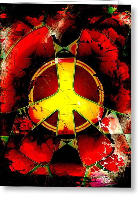 Grunge Style Peace Sign Greeting Card by David G Paul
