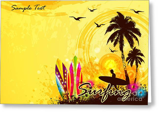 Grunge Surfer Poster  Tropical Greeting Card