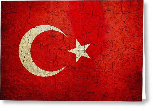 Grunge Turkey Flag Greeting Card