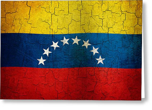 Grunge Venezuela Flag Greeting Card