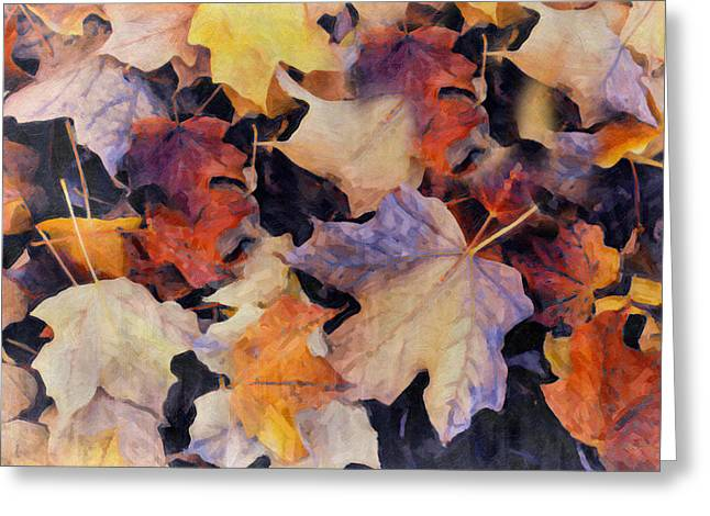 Grungy Autumn Leaves Greeting Card
