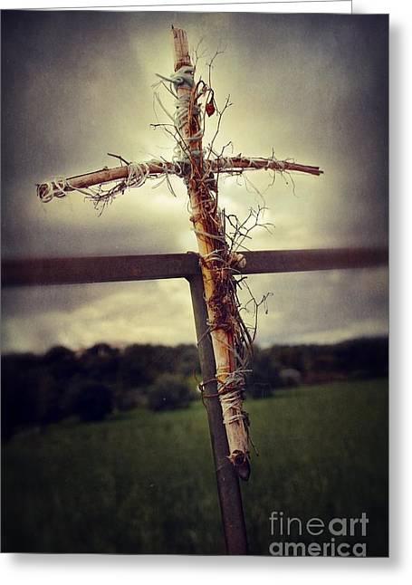 Grungy Cross Greeting Card by Carlos Caetano