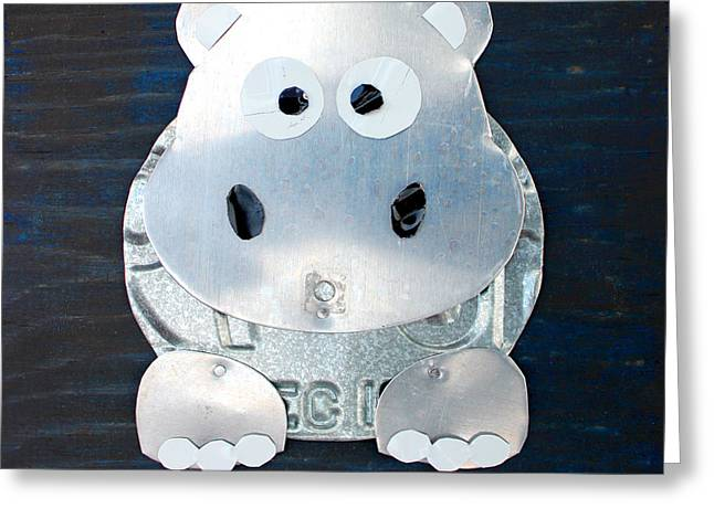 Grunt The Hippo License Plate Art Greeting Card by Design Turnpike