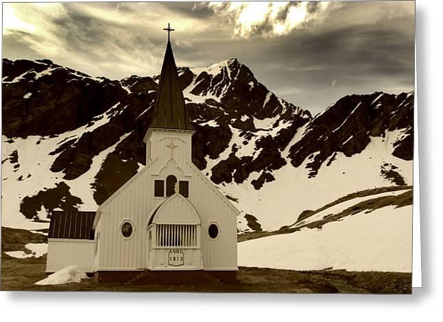 Spring Snow Melt In Grytviken Greeting Card