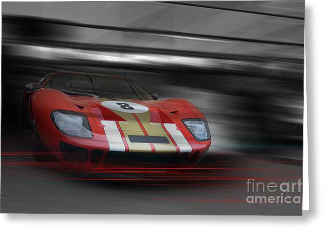 Gt40 Red Greeting Card by Roger Lighterness