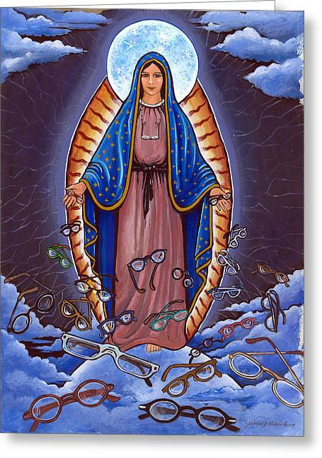 Guadalupe With Glasses Greeting Card