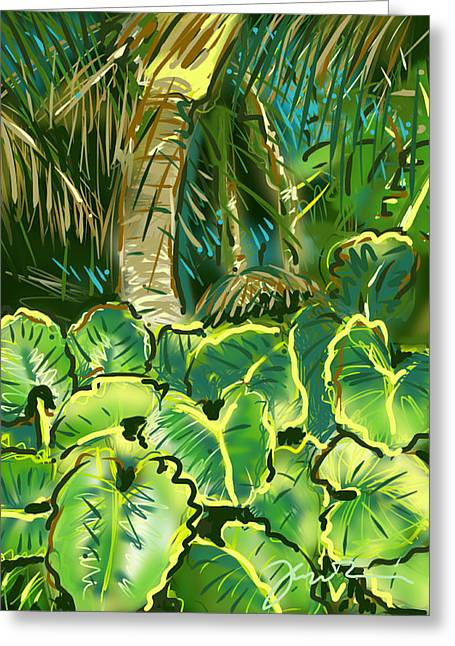 Greeting Card featuring the painting Guanabana Tropical by Jean Pacheco Ravinski