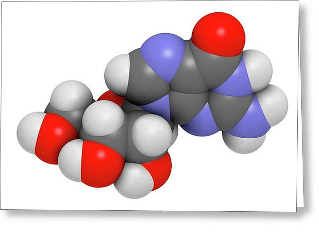 Guanosine Purine Nucleoside Molecule Greeting Card by Molekuul
