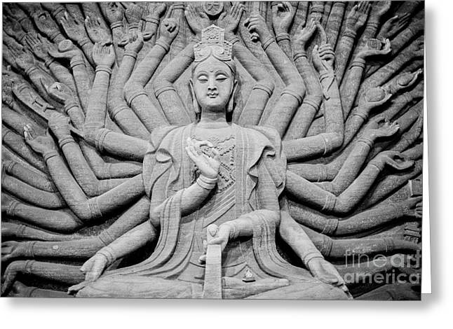 Guanyin Bodhisattva In Black And White Greeting Card by Dean Harte