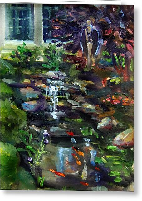 Guardian Angel And Koi Pond Greeting Card by Mitzi Lai