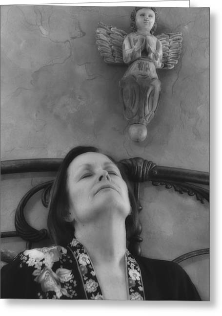 Guardian Angel Bw Greeting Card by Ron White