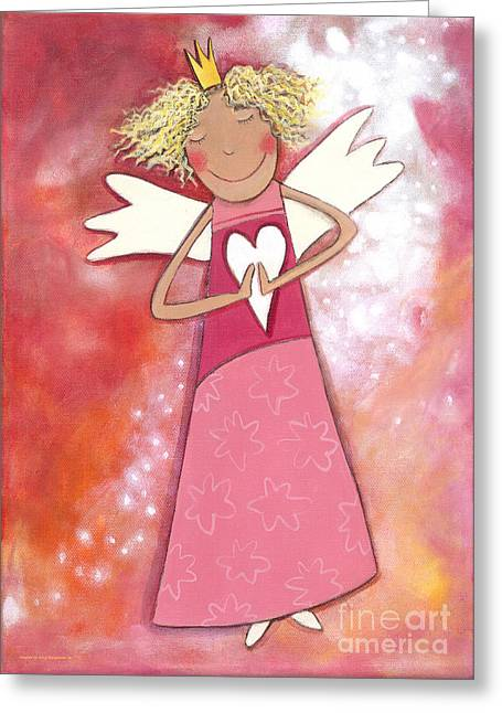 Guardian Angel For Girls Greeting Card by Sonja Mengkowski