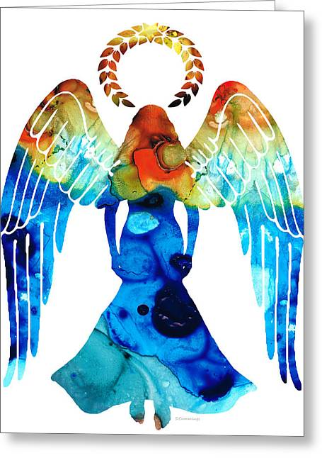 Guardian Angel - Spiritual Art Painting Greeting Card by Sharon Cummings
