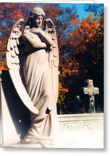 Guardian Angel Statue With Cemetery Cross Greeting Card by Kathy Fornal